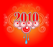 2010 New Year. The new year, 2010, adorned with graphics stock illustration