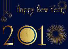 2010 new year card. With midnight clock and firework Stock Photo