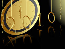 2010 New year card. With midnight clock on black background stock illustration