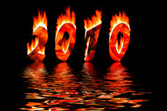 2010 new year numbers in fire flooding in water Stock Images