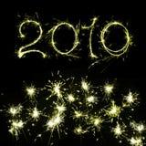 2010 New Year's Eve. Burning sparkler on New Year�s Eve Stock Photo