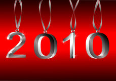 2010 New Year Vector. 2010 Sparkling Silver Hanging Ornament 3d Numbers On Red Background. Vector is available Royalty Free Stock Image