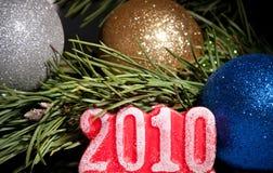 2010 numeri con l'abete Fotografie Stock Libere da Diritti