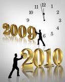 2010 nya år för klockahelgdagsaftondiagram Arkivbilder