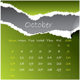 2010 october. 2010 calendar with october month Vector Illustration
