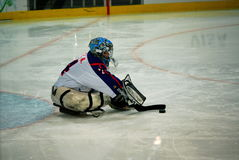 2010 Paralympic Winter Games. Sledge hockey, Sweden versus Korea, in the 2010 Vancouver Paralympic Winter Games stock photos