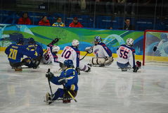 2010 Paralympic Winter Games. Sledge hockey, Sweden versus Korea, in the 2010 Vancouver Paralympic Winter Games royalty free stock photography