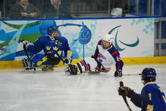 2010 Paralympic Winter Games. Sledge hockey, Sweden versus Korea, in the 2010 Vancouver Paralympic Winter Games stock images