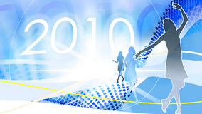 2010-party-event-celebration. Three times a lady, dancing, illustration, new year 2010 Stock Photography