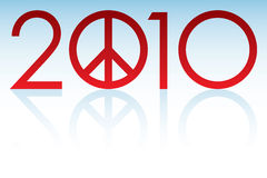 2010 Peace Year. Logo with reflection Stock Illustration