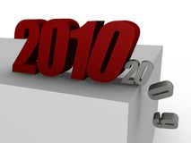2010 pushing 2009 over the edge - 3d image Stock Photography