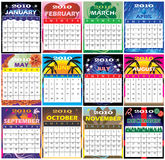 2010 Set of 12 Themed Calendars stock image