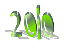 2010 shown with percent. In green color Royalty Free Stock Photography