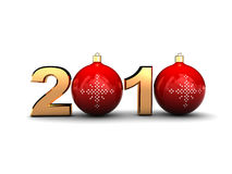 2010 sign. 3d illustration of '2010' sign with christmas balls Royalty Free Stock Images