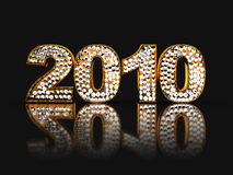 '2010' sign. Abstract 3d illustration of golden text '2010' with diamonds royalty free illustration