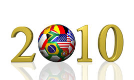 2010 Soccer. Image of a soccer ball and the year 2010 with flags from various nations Stock Photography