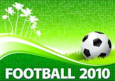 2010 Soccer Ball om Tropical Green Background. Original Vector Illustration Stock Photo