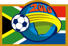 2010 soccer world cup with flag. Illustration of an icon for 2010 soccer world cup with soccer ball flying over globe with map and flag of south africa stock illustration