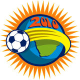 2010 soccer world cup soccer ball. Illustration of an icon for 2010 soccer world cup with soccer ball flying over globe with map of south africa stock illustration
