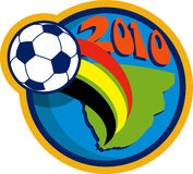 2010 soccer world cup soccer ball. Illustration of an icon for 2010 soccer world cup with soccer ball flying over globe with map of south africa vector illustration