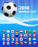 2010 Soccer World Cup With Flag Buttons Stock Photography