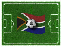 2010 South Africa Worldcup. 3d render of soccer field with  South Africa Flag and ball Royalty Free Stock Photography