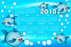 2010 Spanish Kid calendar with fishes. 2010 Kid calendar with fishes and bubbles air, spanish language Stock Photos