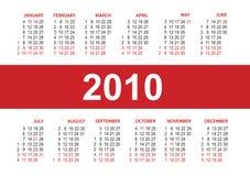 2010 szablonu kalendarzowy wektor Zdjęcia Stock