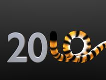 2010 tiger tail figure. Symbolic representation of 2010 new year's eve date Royalty Free Stock Image