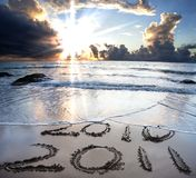 2010 to 2011 on beach Royalty Free Stock Photos