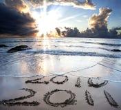2010 tot 2011 op strand Royalty-vrije Stock Foto's