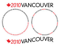 2010 Vancouver logotype. Generic black and red 2010 Vancouver logotype with Canada maple leaf in circular and bended variations royalty free illustration