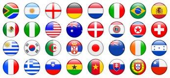 2010 Weltcup-Team-Markierungsfahnen-Internet-Tasten Stockbilder