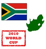 2010 World Cup. Graphic elements for 2010 World Cup, passport stamp, South Africa flag and map, isolated on white background royalty free illustration