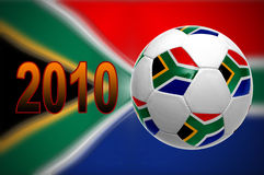 2010 world cup. South African flag with soccer ball for 2010 world cup vector illustration