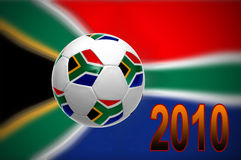 2010 world cup. South African flag with soccer ball for 2010 world cup stock illustration