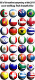 2010 world cup football flags. All of the nations competing at the 2010 FIFA world cup finals in south africa represented as football shaped flags vector illustration