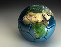 2010 World Cup Soccer Africa. Earth printed onto a soccer ball stock illustration