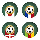 2010 World Cup South Africa  Group E. Composition with footballs in the flags of each country of the group E to the 2010 soccer World Cup Royalty Free Stock Photos