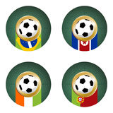 2010 World Cup South Africa Group G. Composition with footballs in the flags of each country of the group G to the 2010 soccer World Cup Stock Photos