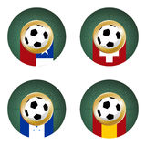 2010 World Cup South Africa Group H. Composition with footballs in the flags of each country of the group H to the 2010 soccer World Cup royalty free illustration