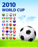 2010 World Cup Team Flag Internet Buttons with Wor. Ld Map Original Vector Illustration stock illustration