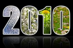 2010 year. Four season digits over black background with elusive reflection vector illustration