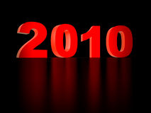 2010 year. Red numbers 2010 on a black background stock illustration