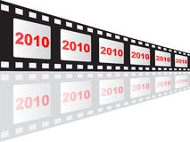 2010 year. On filmstrip vector illustration Stock Photos