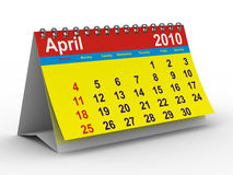 2010 year calendar. April. Isolated 3D image Royalty Free Stock Photo