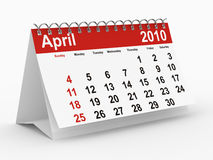 2010 year calendar. April. Isolated 3D image stock illustration