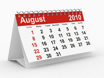 2010 year calendar. August Stock Photography