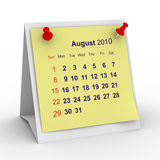2010 year calendar. August. Isolated 3D image Stock Image