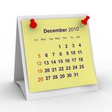 2010 year calendar. December. Isolated 3D image Royalty Free Stock Images